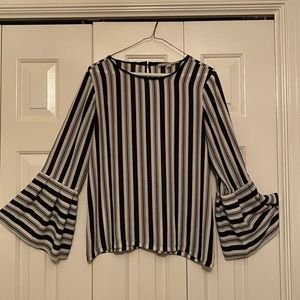 Lou & Grey Striped Blouse with Bell Sleeves
